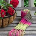 Fuschia Ombre Scarf using a  Broomstick Lace Design