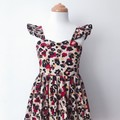 Size 6 Malibu Dress - Animal Print - Cotton - Ruffle Sleeves - Retro - Cotton