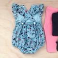 Size 00 - Bellevue Romper - Blue -  Floral - Cotton - Playsuit - Ruffles -