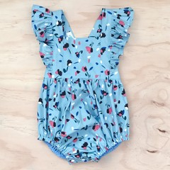 Size 000 - Bellevue Romper - Blue -  Floral - Cotton - Playsuit - Ruffles -