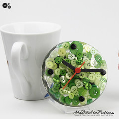 Tick Tock - Green Button Desktop Clock -  Resin Buttons Clock - silent motion
