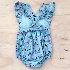 Size 1 - Bellevue Romper - Blue -  Floral - Cotton - Playsuit - Ruffles -