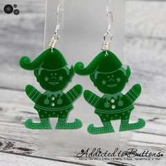 Christmas - Elf - Green -  Drop Dangle Earrings - Hook