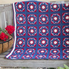 African Rose 100% Wool Baby Blanket in Blue, Red and White
