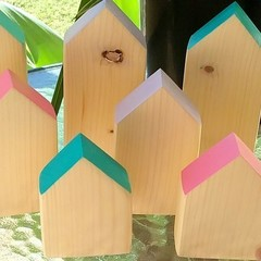 Set of 3 Blue Wooden Houses
