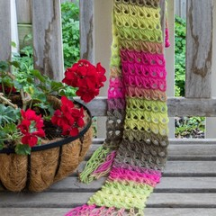 Fuschia Ombre Scarf using a  Broomstick Lace Design