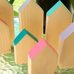Set of 3 Pink Wooden  Houses
