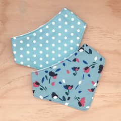 Set of 2 Bandanna Bibs - Blue - Floral - Cotton - Baby Girl