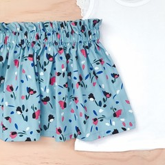 Size 4 - Skirt - Floral - Blue - Pink -  Retro - Cotton -