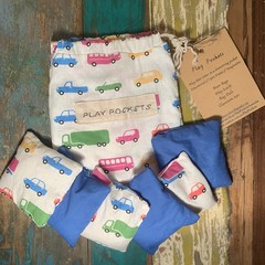 Set of 6 sewn bean bags in a drawstring Play Pocket.