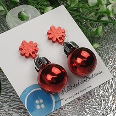 Christmas Baubles - RED Sparkle - Button - Glitter Stud Dangle earrings