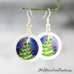 Christmas - Trees in the blue sky -  Drop Dangle Earrings - Hook