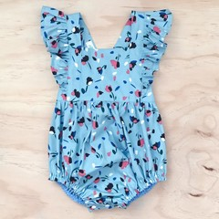 Size 00 - Bellevue Romper - Blue -  Floral - Cotton - Playsuit - Ruffles -