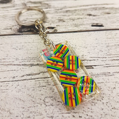 Resin Keyring - Rainbow Stripe Buttons -Bag Tag - Luggage Identifier - Rectangle