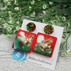 Square Sparkle Christmas - Button - Glitter Stud Dangle earrings