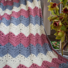 Stellar Ripple Baby Blanket in Beautiful 30/70% Alpaca/wool