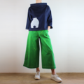 Boxy Denim Long Sleeve Top with Screen Printed Wombat Front and Back and White T