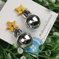 Christmas Baubles - SILVER MIRROR - Button - Glitter Stud Dangle earrings