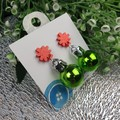 Christmas Baubles - GREEN Sparkle - Button - Glitter Stud Dangle earrings