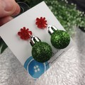 Christmas Baubles - GREEN Glitter Sparkle - Button - Stud Dangle earrings