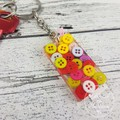 Resin Keyring - Multicoloured Buttons - Bag Tag - Luggage Identifier - Rectangle