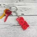 Resin Keyring - Red Buttons - Bag Tag - Luggage Identifier - Rectangle