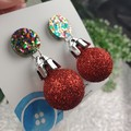 Christmas Baubles - RED Glitter Sparkle - Button - Stud Dangle earrings