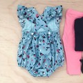 Size 0 - Bellevue Romper - Blue -  Floral - Cotton - Playsuit - Ruffles -