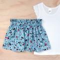 Size 4 - Skirt - Floral - Blue - Pink -  Retro - Cotton -
