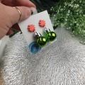 Christmas Baubles - GREEN Sparkle - Button - Glitter Stud Dangle earrings