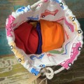 Set of 6 bean bags in a drawstring Play Pocket - primary & secondary colours