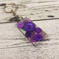 Resin Keyring - Purple Buttons - Bag Tag - Luggage Identifier - Rectangle