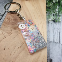 Keyring - Neon  White Sparkle Buttons - Bag Tag - Luggage Identifier - Rectangle