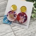 Poppy Circle Glitter Sparkles - Resin - Stud Dangle earrings