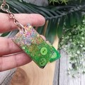 Resin Keyring - Green Sparkle Buttons - Bag Tag - Luggage Identifier - Rectangle
