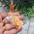 Keyring - Neon Orange Sparkle Buttons - Bag Tag - Luggage Identifier - Rectangle