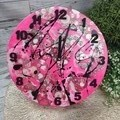 Tick Tock - Neon Pink Paint Splat Buttons Resin clock - silent motion
