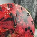 Tick Tock - Red Black Gold Sparkles Resin Button clock - silent motion