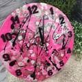 Tick Tock - Neon Pink Paint Splat Buttons Resin clock - silent motion