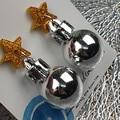 Christmas Baubles - SILVER MIRROR - Button - Glitter Stud Dangle earrings