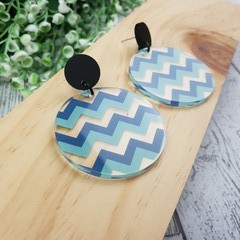 Chevron zig zag -  Dangle Earrings - Acrylic - Teal blue