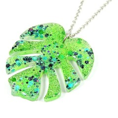 Green glitter monstera leaf necklace
