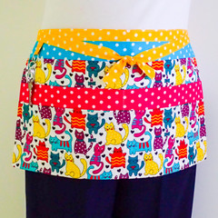 Preschool teacher utility vendor daycare lined apron - 6 pockets - cats