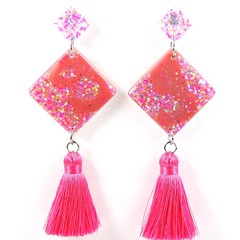 Diamond tassel earrings - pink & white iridescent mix