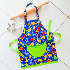 Kids/Toddlers Apron - lined apron with pocket - Dinosaurs