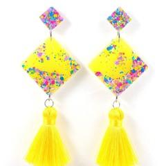 Diamond tassel earrings - pink, blue, yellow & purple mix