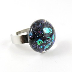 Glitter Ring - black, purple, blue & green holographic mix