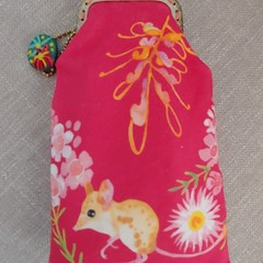 Pink Native Mouse and Quoll Glasses Case