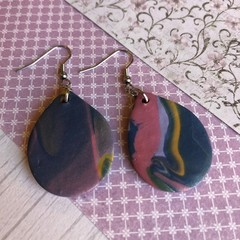 Shimmery navy dangles, tear drop, polymer clay
