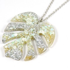 Gold & silver glitter monstera leaf necklace